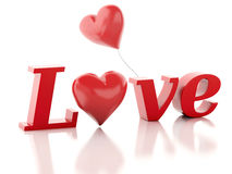3d red love heart. valentines day concept  white Stock Images