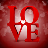 3d red LOVE text Stock Image