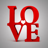 3d red LOVE text Stock Photo