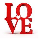 3d red LOVE text Stock Photos