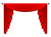 3d red luxury silk curtain, realistic interior decoration velvet Stock Photo