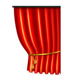 3d red luxury silk curtain, realistic interior decoration velvet Royalty Free Stock Photo