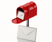 3d Red mail box with heap of letters. Royalty Free Stock Photo