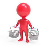 3d Red man carrying shopping baskets Stock Images
