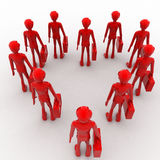 3d red man standing in heart shape with briefcase concept Royalty Free Stock Images