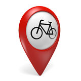 3D red map pointer icon with a bicycle symbol for bike rentals and cycling Stock Photos