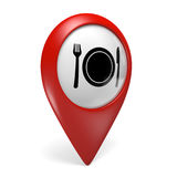 3D red map pointer icon with a food symbol for restaurants and diners Stock Photos