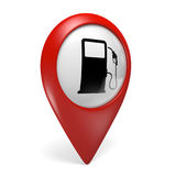 3D red map pointer icon with a fuel pump symbol for gas stations Stock Photography