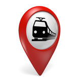 3D red map pointer icon with a train symbol for railway stations Royalty Free Stock Image