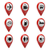 3D red map pointer icons set for transport, hotels, food, and services Royalty Free Stock Photography