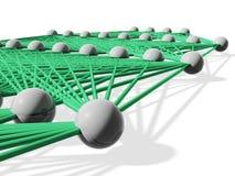 3d red neuronal, capas con vínculos verdes Fotos de archivo libres de regalías