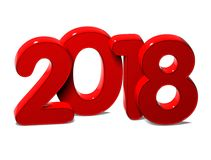 3D Red New Year 2018 on white background Royalty Free Stock Image
