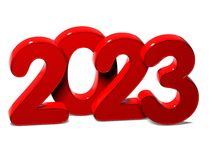 3D Red New Year 2023 on white background Stock Images