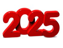 3D Red New Year 2025 on white background Royalty Free Stock Image