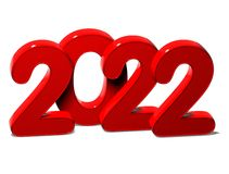 3D Red New Year 2022 on white background.  Royalty Free Stock Photography
