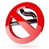 3d red no smoking sign - 3D render Stock Image