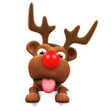 3d Red nosed puppy dog with antlers Stock Photography
