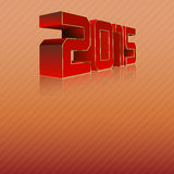 2015 3D. Red numbers 2015 with gold edges stock illustration