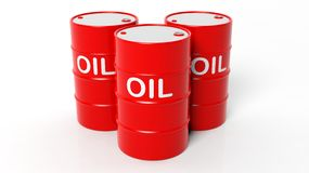 3D red oil drums. Isolated on white background stock illustration