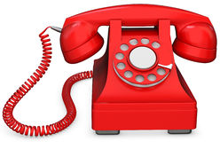3d red old-fashioned phone Stock Photos