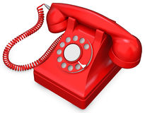 3d red old-fashioned phone Stock Photography