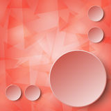 3d red paper circle label on layer of transparent red triangle glass mosaic abstract design background concept. 1 Royalty Free Stock Image