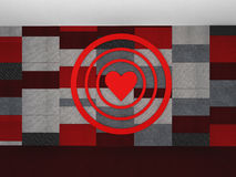 3D Red pattern with a heart target on valentine`s day, illustrat. 3D Red pattern with a heart target on valentine`s day,illustration Stock Photo