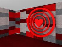 3D Red pattern with a heart target on valentine`s day. Illustration Royalty Free Stock Image