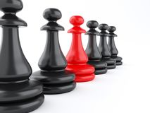 3D red pawn of chess standing among black pawns. 3D illustration. Leadership concept, red pawn of chess standing among black pawns. Business concept. Isolated Stock Photos