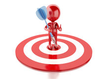 3d red people with darts and target. success in business. 3d renderer image. Red people with darts and target. success in business. Isolated white background Stock Images