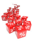 3d Red percent dice Stock Images