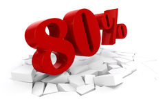 3d red percent discount Stock Images