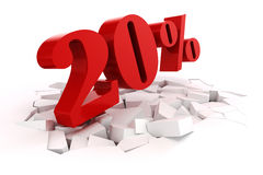 3d red percent discount Stock Photos