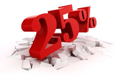 3d red percent discount Stock Image