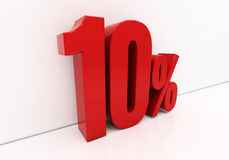 3D red 10 percent Royalty Free Stock Photography