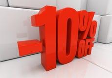 3D red 10 percent. Red ten percent off. Discount 10. 3D illustration vector illustration
