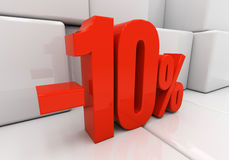 3D red 10 percent. Red ten percent off. Discount 10. 3D illustration royalty free illustration