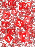 3d Red percentage dice falling Royalty Free Stock Image
