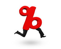 3D red percentage sign with human legs Royalty Free Stock Photos