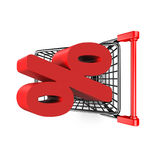 3D red percentage sign in the shopping cart Royalty Free Stock Images