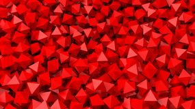 3D red polyhedrons pile abstract Royalty Free Stock Image