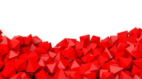 3D red polyhedrons pile Royalty Free Stock Photo