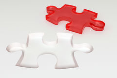 Red puzzle piece. 3d abstract puzzle pieces Stock Photo