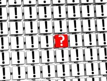 3D Red Question Mark inside exclamation marks blocks.  Royalty Free Stock Photography