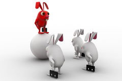 3d red rabbit standing on ball instructing juniors concept Royalty Free Stock Photos