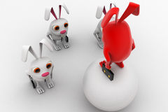 3d red rabbit standing on ball instructing juniors concept Stock Photo