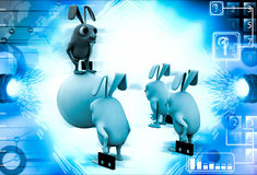 3d red rabbit standing on ball instructing juniors illustration Royalty Free Stock Image