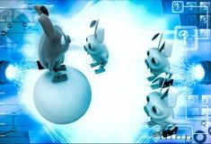 3d red rabbit standing on ball instructing juniors illustration Stock Images
