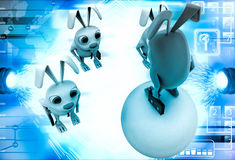 3d red rabbit standing on ball instructing juniors illustration Royalty Free Stock Images