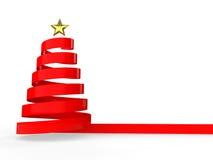 3d red ribbon Christmas tree Royalty Free Stock Photo